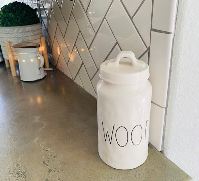 canister to hide dog treats, home decorating when you live with pets.