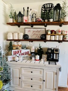 coffee bar in a Christmas home